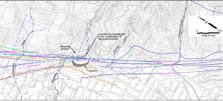 Fig. 1: Topographic map with locations of the Hayward Fault